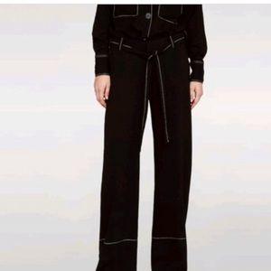Zara women's wide leg trousers white stitching